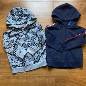 Size 2 sweaters George and cars gray and blue hooded long sleeve sweaters zip up